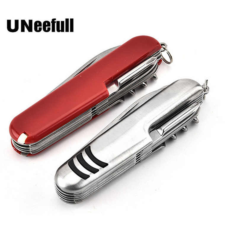 UNeefull Switzerland Stainless Steel Knife Multifunctional Folding Army Knives Outdoors Camping Survival Knife Red and silver