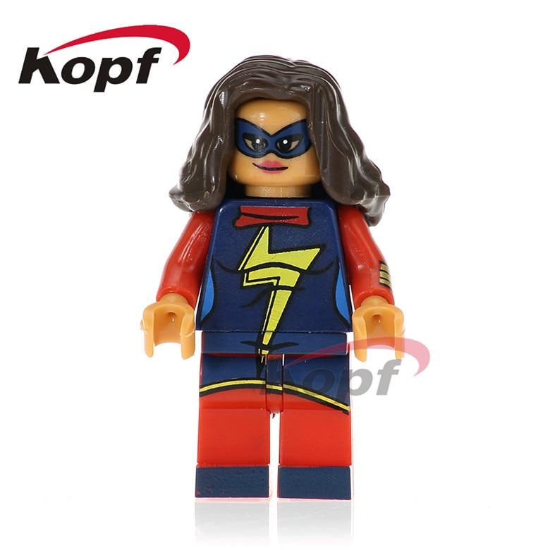 50Pcs PG239 Super Heroes Ms Marvel Nightwing Invisible Woman Blazing Skull Bricks Set Model Building Blocks Toys for children