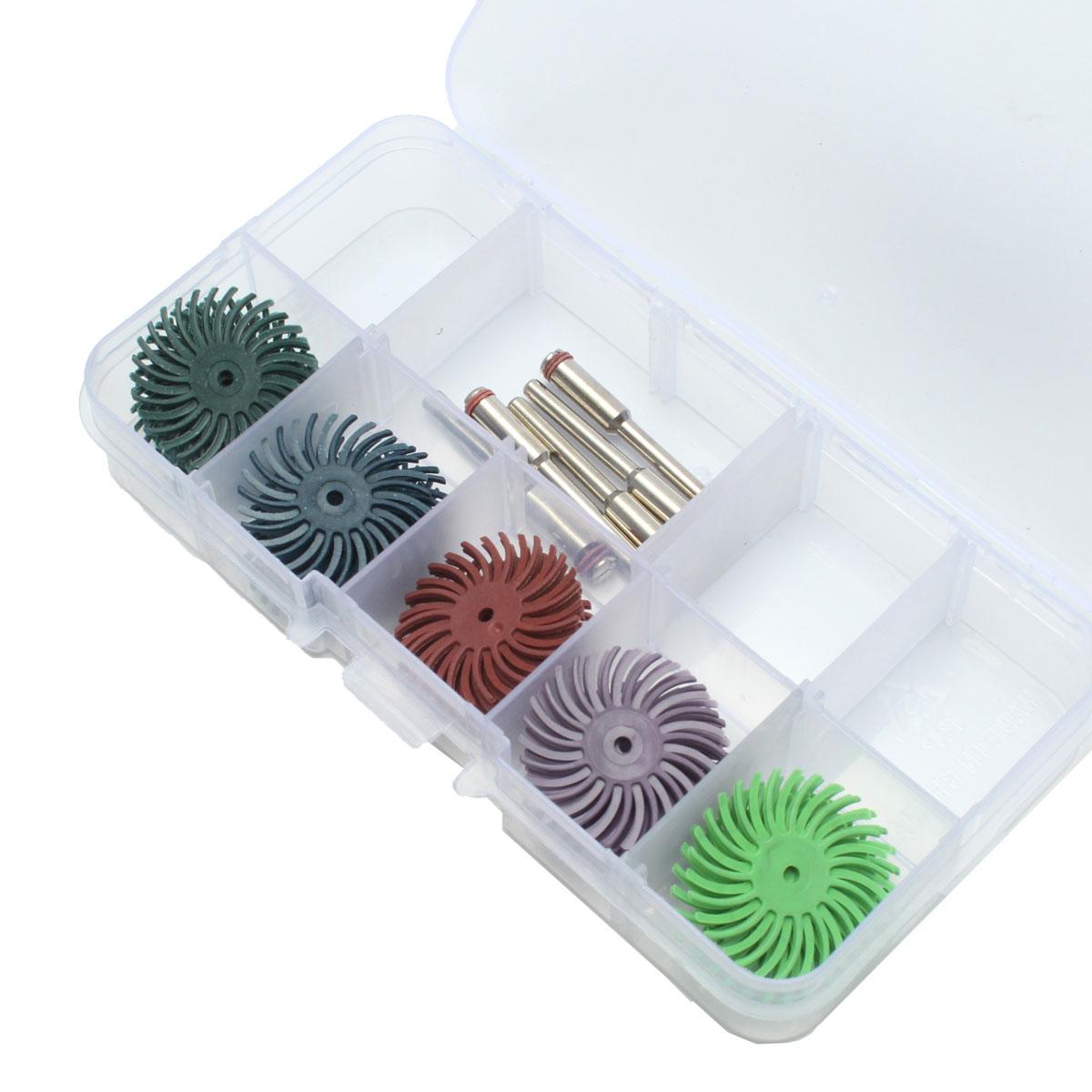 30pcs 5 Grits Polishing Disc Brush Radial Bristle 1
