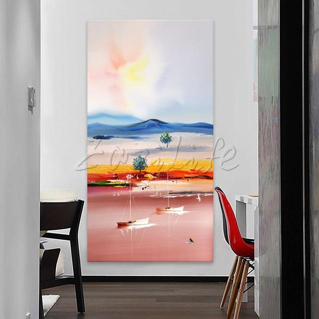 US $48.38 18% OFF|Hand bemalte leinwand ölgemälde wandkunst Bilder für  wohnzimmer Große Billig moderne abstrakte Yacht malerei schiff segeln 1 in  Hand ...