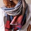 Envío rápido classic bufanda a cuadros grandes mujeres del mantón de la señora bufandas de Cachemira de color caqui rosa bufanda de rayas para hombre