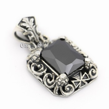 Huge Black CZ Stone 925 Sterling Silver Mens Biker Rocker Punk Pendant 9R024