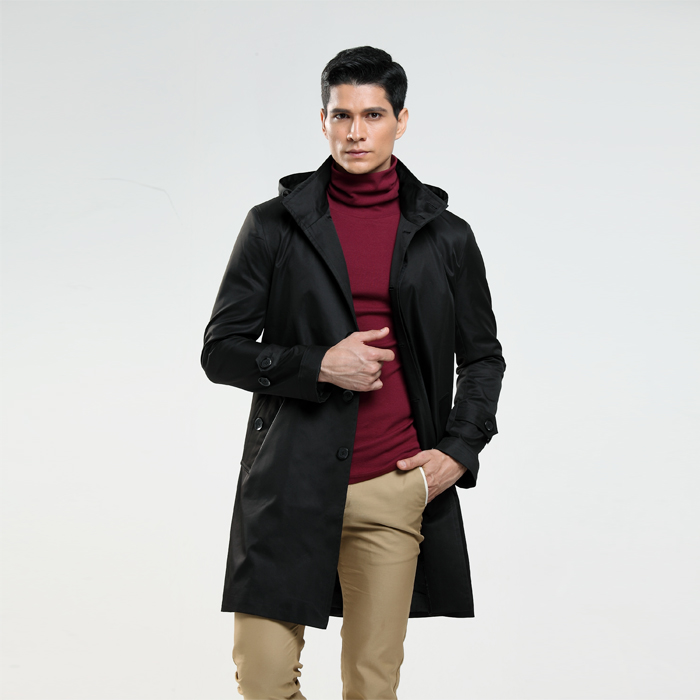 Hot Fashion autumn and winter mens trench coat double ...   Mens Trench Coat With Hood