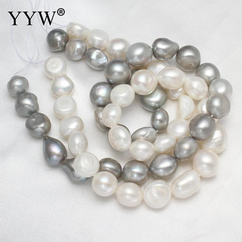 Grey Pearl Beads: High Quality Natural Freshwater Pearl Beads 13 15mm White