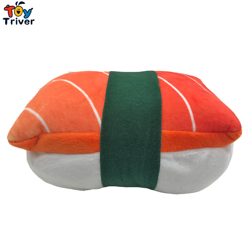 Japan Rice Sushi Salmon Plush Toy Triver Stuffed Doll Office Nap Hand Pillow Pad Home Shop Restaurant Decor Kids Birthday Gift