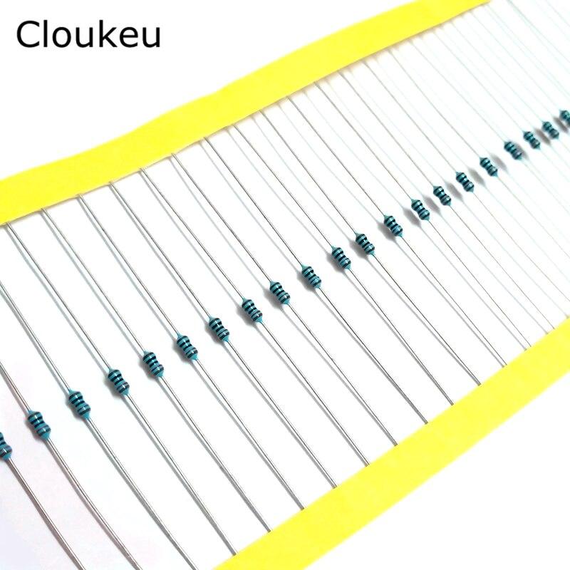 100Pcs 1/8W 1% Metal film resistor 0.125w Resistor 1K 2.2/3.3/4.7/8.2/10/22/33/47/56/82/100/120/220/330/390/430/510/680/910K Ohm