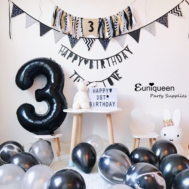 30 Black Number Balloon Foil Balloons 0 1 2 3 4 5 6 7 8 9 Birthday Anniversary Celebration Baby Shower Party