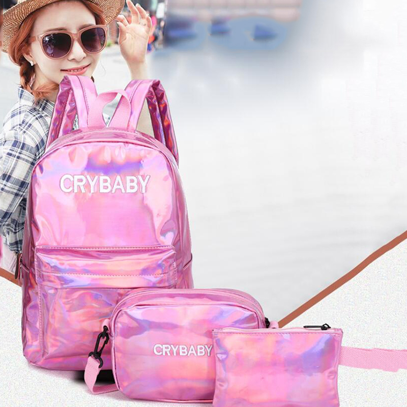 HTB1NRu7bCSD3KVjSZFKq6z10VXam Yogodlns 2019 Holographic Laser Backpack Embroidered Crybaby Letter Hologram Backpack set School Bag +shoulder bag +penbag 3pcs