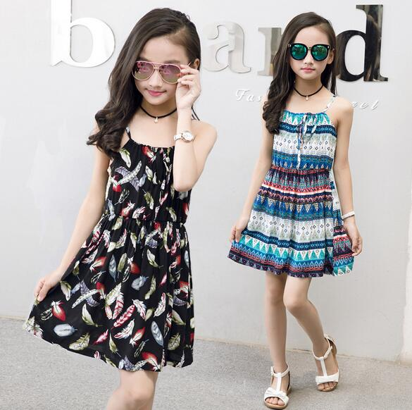 For 6 8 10 12 14 Years Girls summer clothes beach Bohemia Style Floral Print cotton sundress Backless baby Girl Children dresses girl
