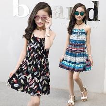 Летняя одежда для девочек 6, 8, 10, 12, 14 лет, пляжный хлопковый сарафан в богемном стиле с цветочным принтом, детские платья с открытой спиной для маленьких девочек
