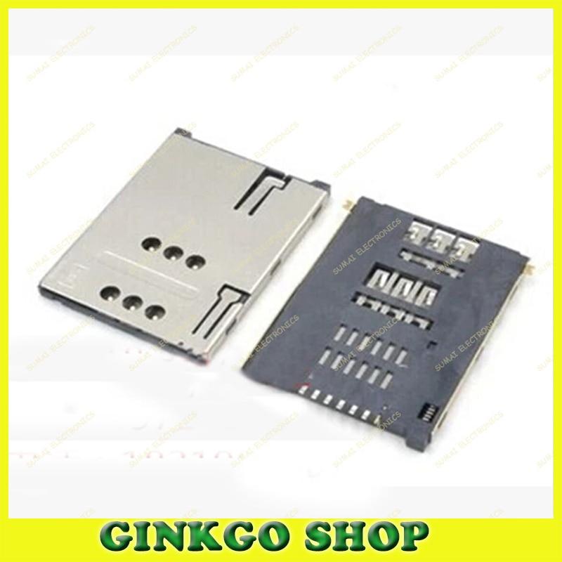 100pcs/lot Mobile phone Tablet Sim 7P card Slot sim card Connector socket Holder PUSH 6P+1P with column Free shipping