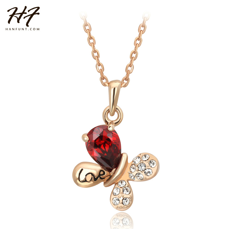 Top Quality N379 Butterfly Rose Gold Color Fashion Pendant Jewelry
