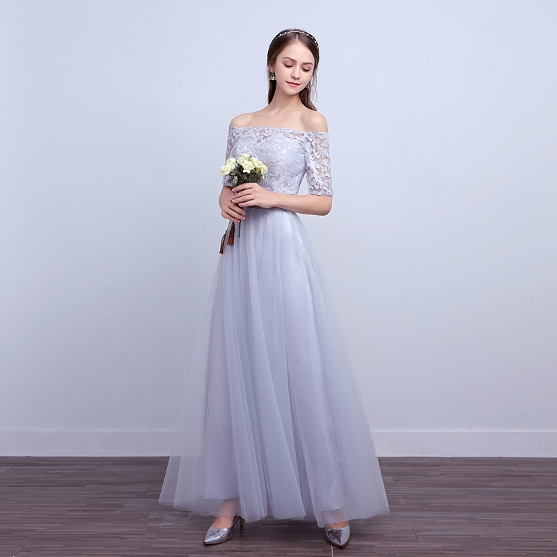 U-SWEAR 2019 New Arrival Women   Bridesmaid     Dresses   Floral Embroidery Off the Shoulder Half Sleeve Lace Chiffon   Bridesmaid     Dresses