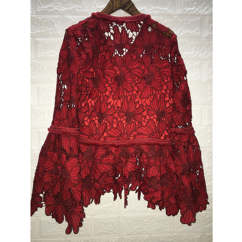 Женская одежда 2019 Мода темперамент кружевная рубашка ажурная v образный вырез и юбка годе рукава с длинными рукавами сексуальная красная ру... - 3