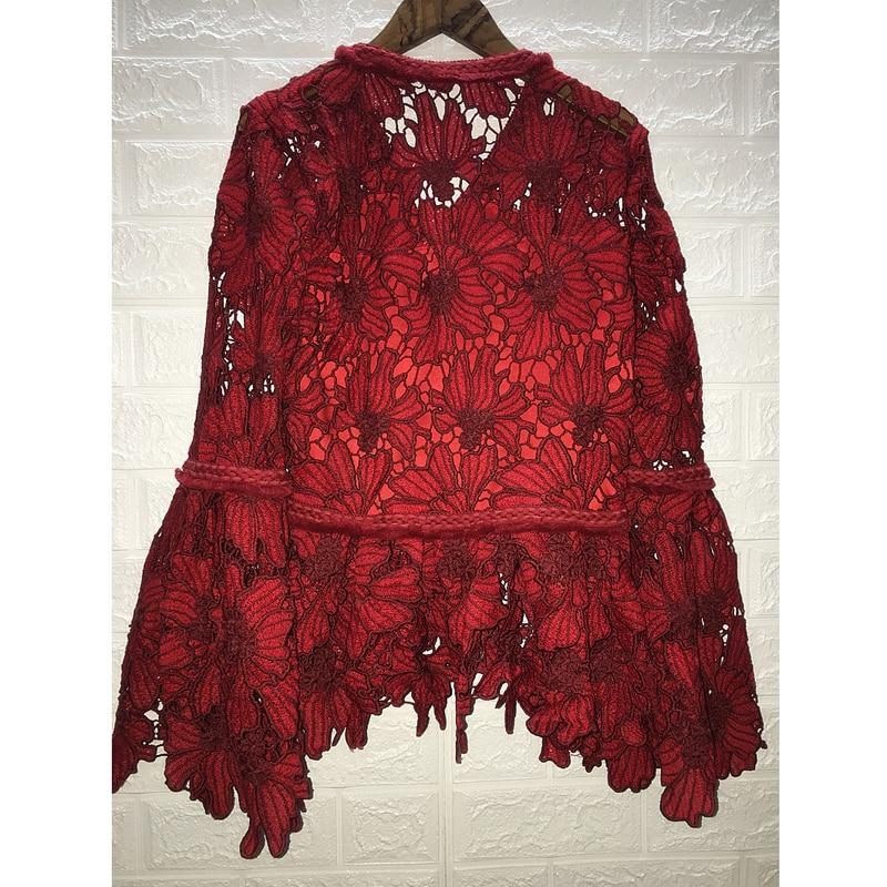 Vrouwen Kleding 2019 Mode Temperament Kantoverhemd Opengewerkte V hals Trompet Mouwen Lange mouwen Sexy Rood Shirt - 3