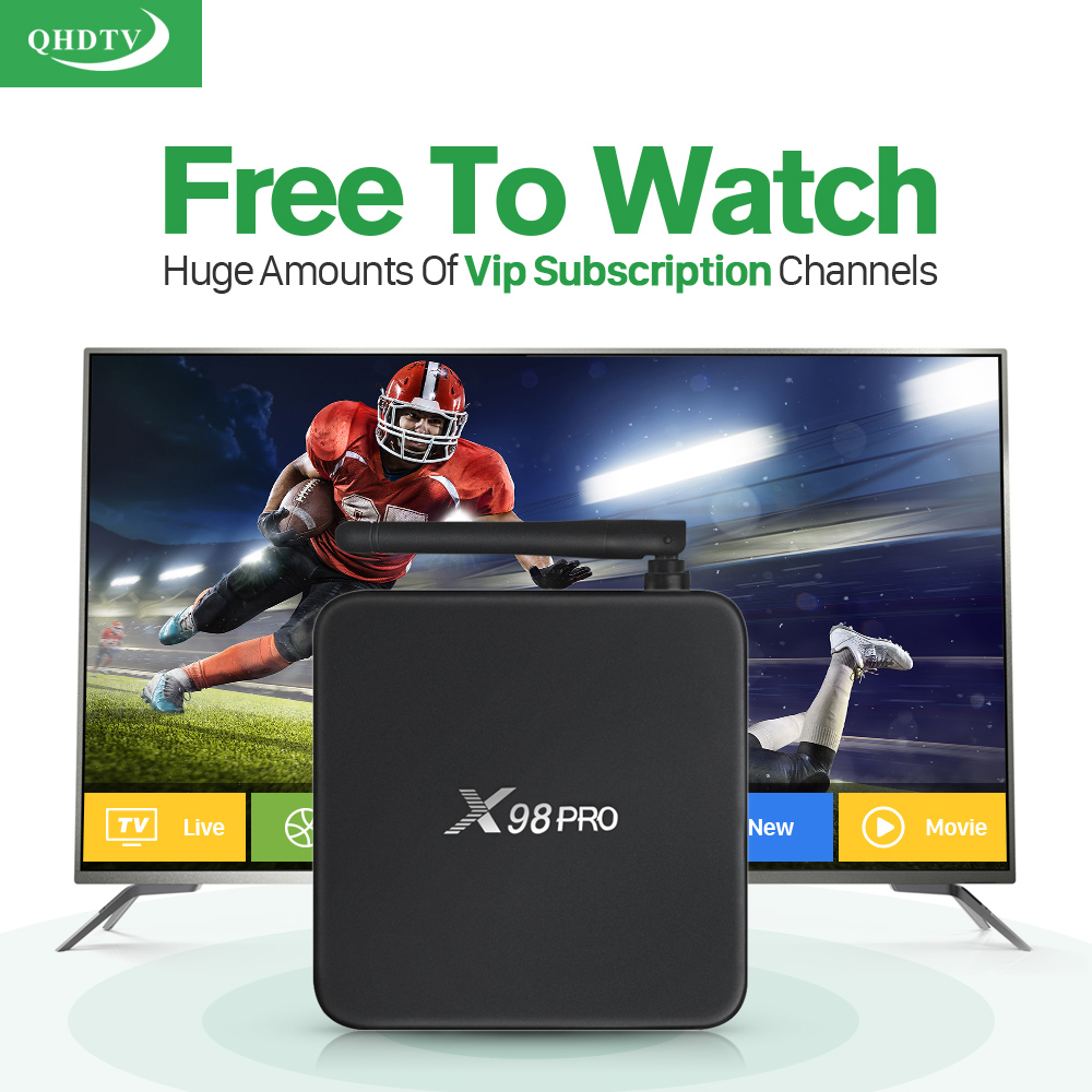 Smart X98PRO S912 Android tv Box 2g+16g Media Player With 1300+ HD IPTV Europe Arabic French Subscription 1 year QHDTV Account  arabic iptv europe subscription 1 year qhdtv account 4k hd live sport channels iptv box android 6 0 tv box 2g 16g media player