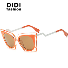 DIDI 2017 Steampunk Cat Eye Sunglasses Women Twisted Triangle Street Glasses Clear Frame Circle Lens Celebrity Party Shades W642