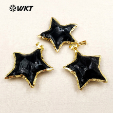 WT P1323 New Arrival Lovely Star Black Obsidian Pendants Metal Electroplated Jewelry Making for Women Necklaces