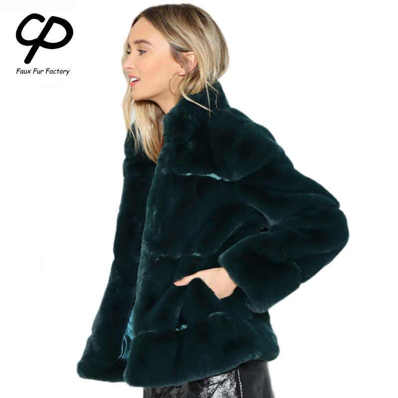 CP Taklit Kürk Fabrika Sahte Tavşan Kürk Ceket Kadınlar Kış Yumuşak Standı Yaka Kürk Palto Kadın Faux Kürk Parka ceket CP66