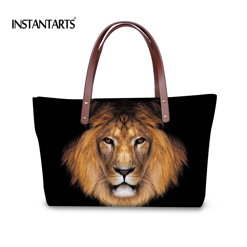 INSTANTARTS Cool 3D Animal Lion Printed Women Handbags Ladies Shopping Tote Shoulder Bags Large Capacity Travel Top Handle Bag mojoyce women travel shopping bags summer beach big shoulder bags ladies large capacity canvas striped messenger tote bag