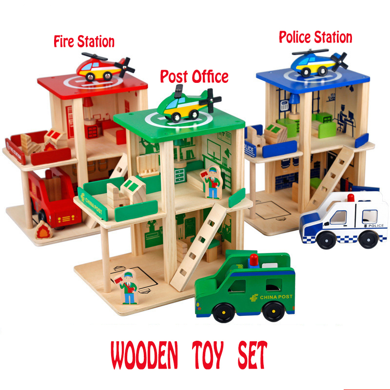 Fire Station Police Station Post Office Wooden Toy Set Wooden Track Build Blocks DIY Role-playing Educational Toys For Children