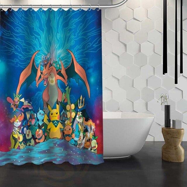 Hot Sale Custom Pokemon Shower Curtain Waterproof Fabric For Bathroom FY1 17