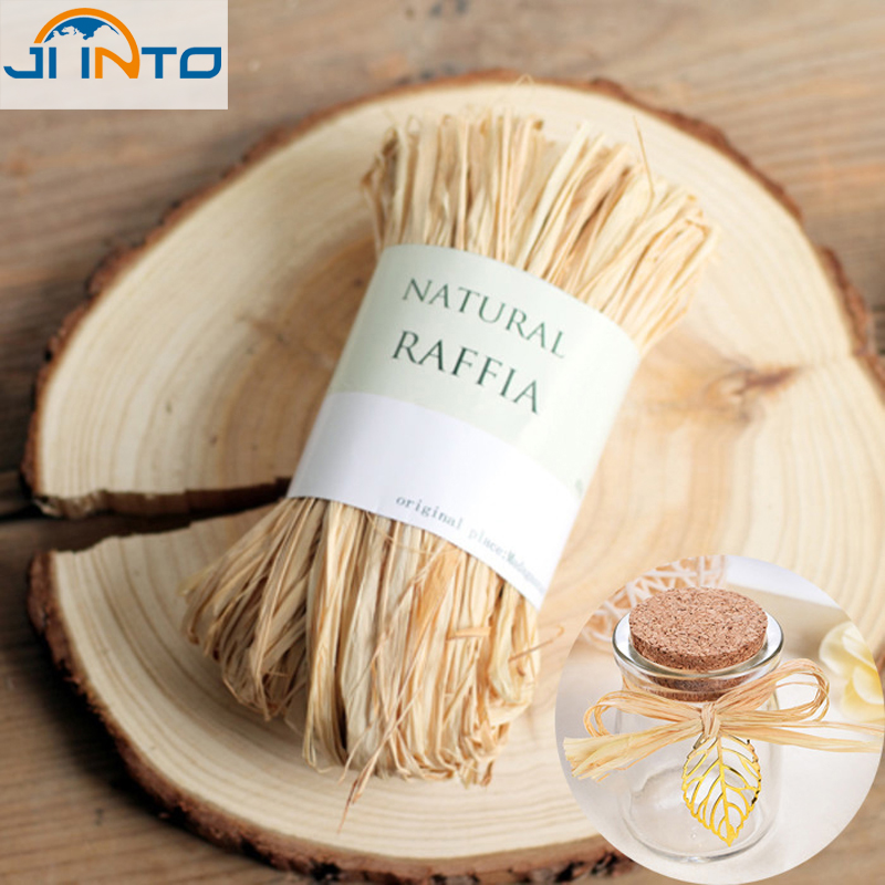 Natural raffia dry straw paper gift wrap candy box packaging rope Natural Raffia Rope wedding party decoration flower wrapping