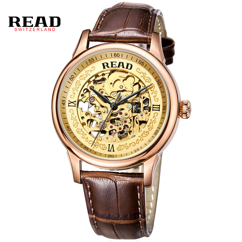 Automatic Watch Men Rose Gold Mens Watches Top Luxury Brand READ Mechanical Leather Wristwatches Skeleton Male Clock Man Relogio skeleton men self wind leather mechanical automatic watch mens watches top brand luxury male clock relogio automatico masculino