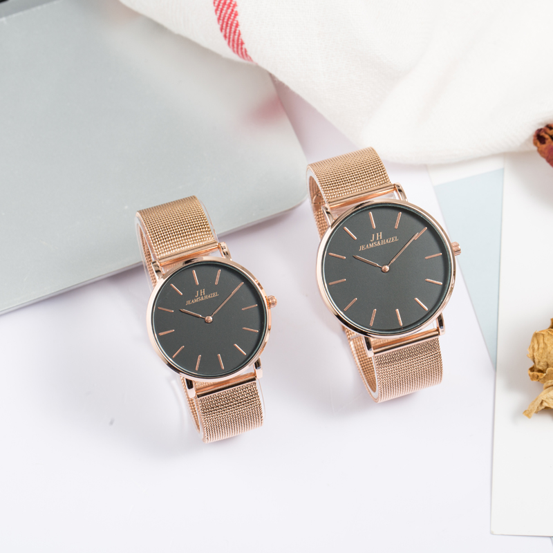 JH Women Quartz Business Casual Rose Gold Thin Couple Wrist Watches Set Silver Full Steel For Lovers Black White Slim Net Watch