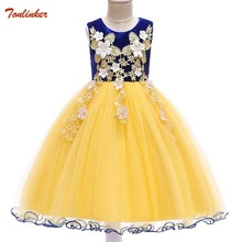 Lace Flowers Formal Evening Wedding Gown Tutu Princess Dress  Summer Girls Children Clothing Kids Party For Girl Clothes 2-10 Yr baby girl clothes wedding braidal dress children clothing girl lace dresses kids long evening party gown designs for teenager