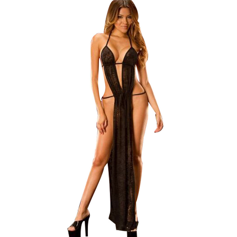 Bathrobe Black Hot New <font><b>Women's</b></font> <font><b>Underwear</b></font> <font><b>Sexy</b></font> <font><b>Erotic</b></font> <font><b>Lingerie</b></font> Lace Babydoll Dress Hot <font><b>Sexy</b></font> Nightgowns Long Night Dress Sleepwear image