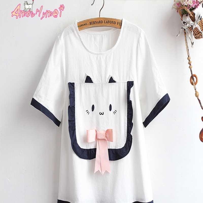 Été femmes mignon coton robe en lin Style japonais Mori fille Lolita Kawaii dessin animé poche rose noeud plissé Mini robes