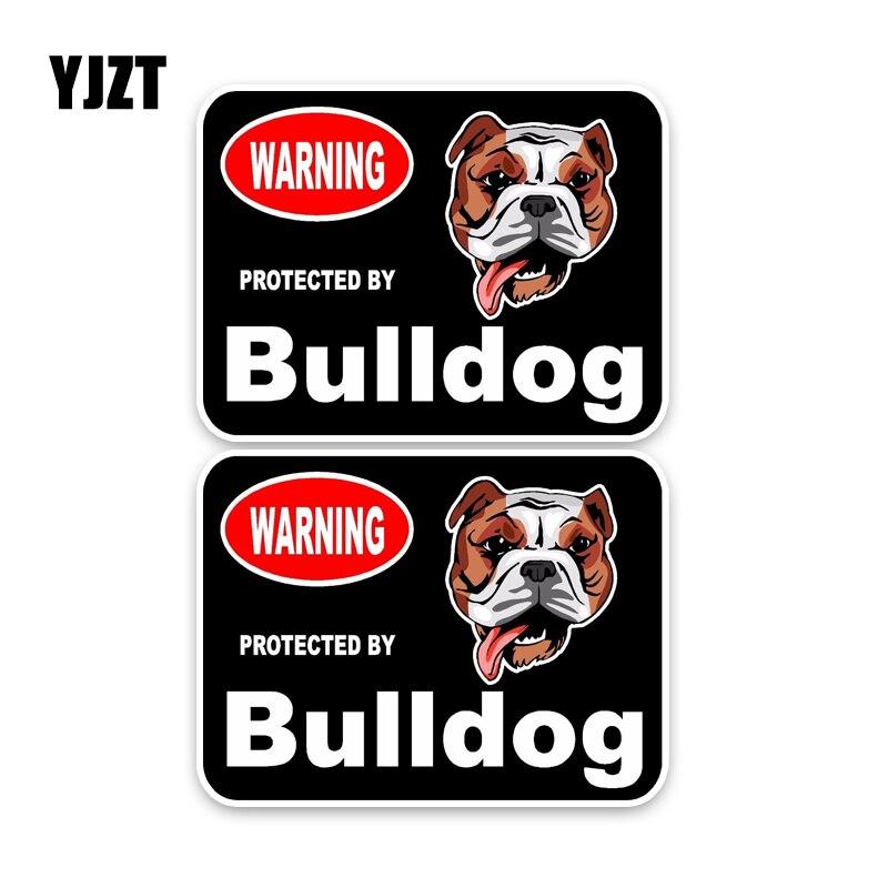 YJZT 15*11.4CM 2X Bulldog Guard Dog Personality Retro-reflective Car Sticker Decals C1-4466