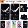 Painted Wallet Flip Case For Prestigio Muze D3 E3 PSP3530 DUO DU PU leather Card Slot Stand bag Cover fundas with Strap