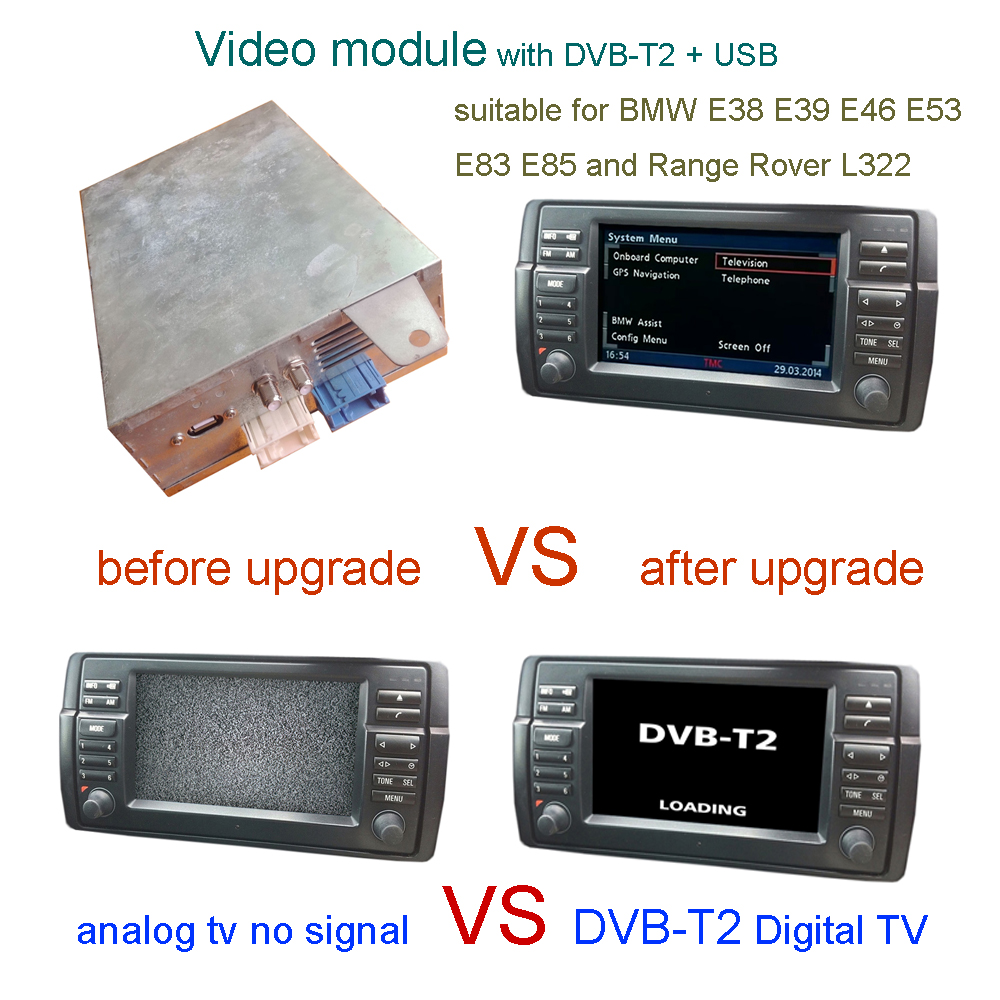 video module with dvb t2 tv for bmw e38 e39 e46 e53 e83. Black Bedroom Furniture Sets. Home Design Ideas