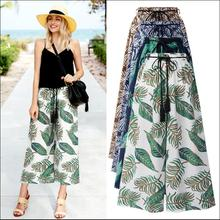 цена на New women trousers loose pants chiffon floral printed pattern Wide Leg pants elastic Waist  with drawstring beach boho pants 5XL
