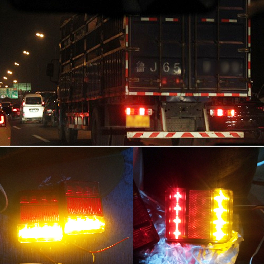 Waterproof 8 LED Car Tail Light Rear Lamps Pair Boat Trailer 12V Rear Parts for Trailer Truck Car Lighting Waterproof IP65 in Signal Lamp from Automobiles Motorcycles