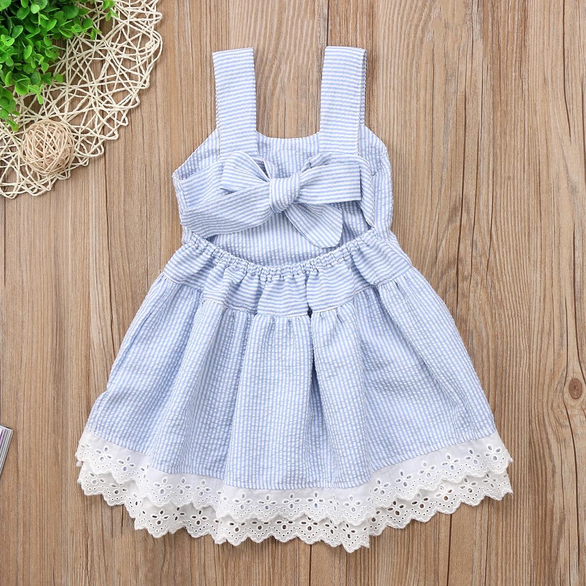 Summer Kids Baby Girls Princess Party Dress A-Line Sleeveless Tutu Striped Backless Bowknot Dresses Vestiods 1-5T