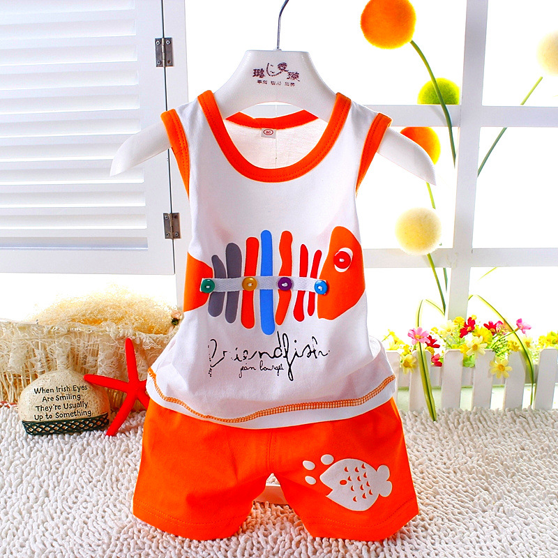 2pcs/set Vest Suit Baby Clothing Set Summer Style Fish Newborn Baby Boy Girl Clothes Set Sleeveless Ropa Bebes Infant Clothes shirt baby boy summer clothes shorts sets baby boy set 100 cotton newborn baby girl summer clothes infant clothing suit outfits