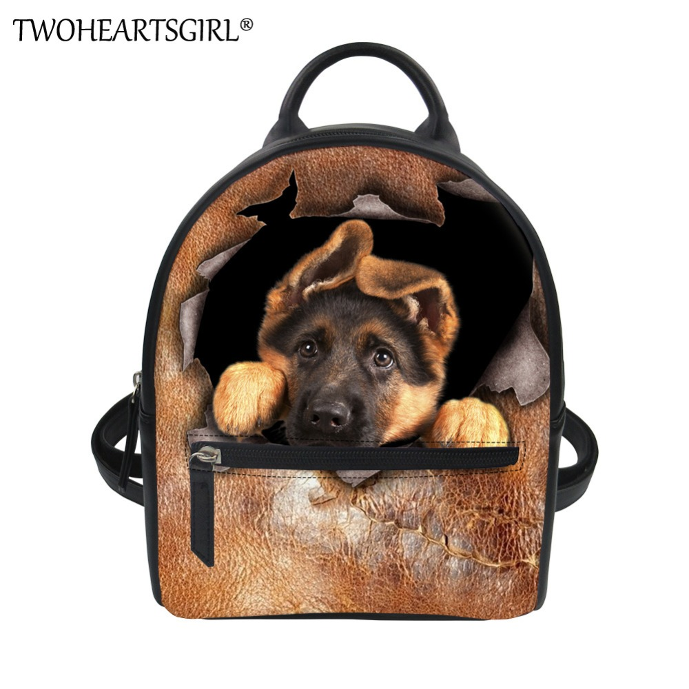 TWOHEARTSGIRL German Shepherd Print Backpack for Women Classic Pu Leather  Rucksack Travel Bagpack Small Girls Shoulder 2e8cfbe60aca3
