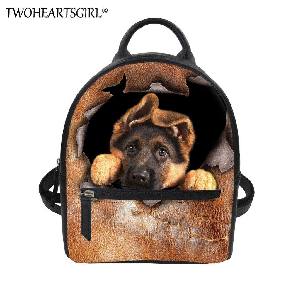 Twoheartsgirl German Shepherd Print Backpack For Women Classic Pu Leather Rucksack Travel Bagpack Small Girls Shoulder Bags