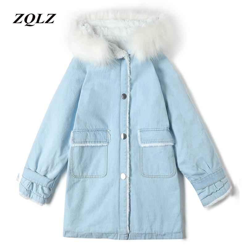 Casual Cálido Nieve Ropa Parka Algodón Mujer Con Cielo Capucha Azul qqR8xnHz