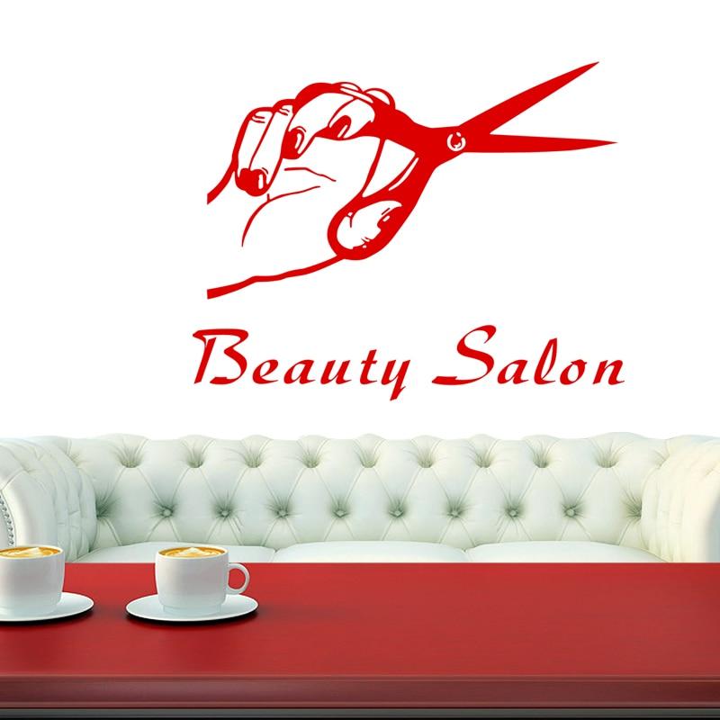 DCTAL Hair Salon Decal Barber Shop Sticker Name Scissors Neutral Haircut Poster Vinyl Wall Art Decals Decor Windows Decoration