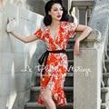 ENVÍO GRATIS Le Palais de La Vendimia 2016 Nueva Llegada Del Verano Sexy Ruffles Edge Elegante Urdimbre Naranja Floral Delgado Vestido de Ropa de Mujer