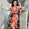 FREE SHIPPING Le Palais Vintage 2016 Summer New Arrival Sexy Ruffles Edge Elegant Warp Floral Orange Slim Dress Women Clothing