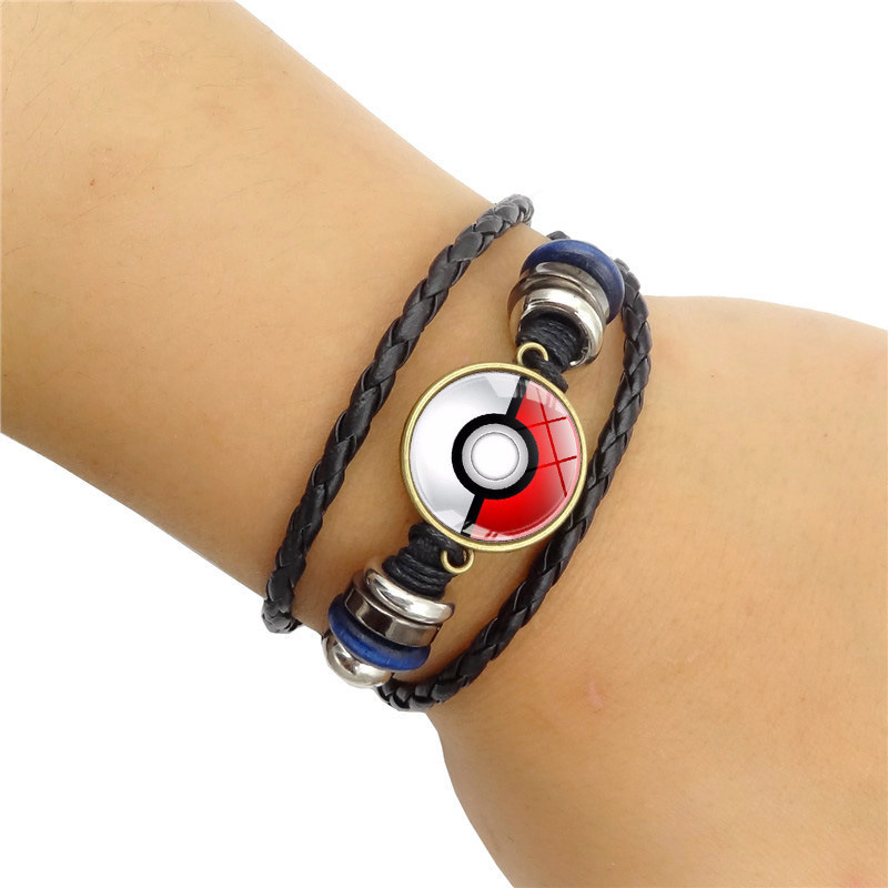 anime-pocket-monster-pikachu-poke-ball-glass-cabochon-woven-bracelet-font-b-pokemon-b-font-go-cosplay-anime-accessories-hand-chain