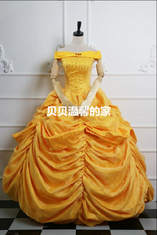 High Quality Custom Made Princess Belle Cosplay Costume Dress Beauty and the Beast Dress B Princess Dress