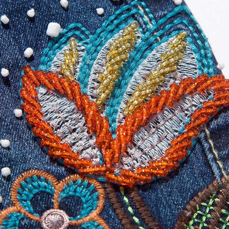 Denim Hechos Señoras Bordado Flor Elegent Plisada A Jeans Mujer Moda Aboorun Flared Mano Blue X1011 Pantalones Granos 4YfxqwvOvn