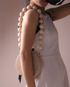 Image 5 - HOT Round Weave Handbag Banquet Clutch Woman Crossbody Bags For Women Circular Strip Shoulder Bags Resin Strap Wood Handle New