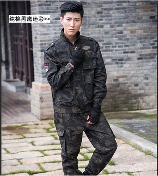 Black Combat suit Woman&Man Long-sleeve Equipo militar Camouflage overalls men